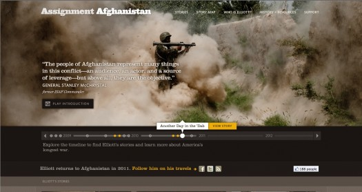 Screen shot of the Assignment Afghanistan website.