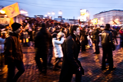 Protesters roam the streets of Moscow at the end of the December 10 gathering in Bolotnaya Square. (Max Avdeev)