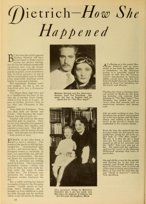 Dietrich: How She Happened (Photoplay, 1931)