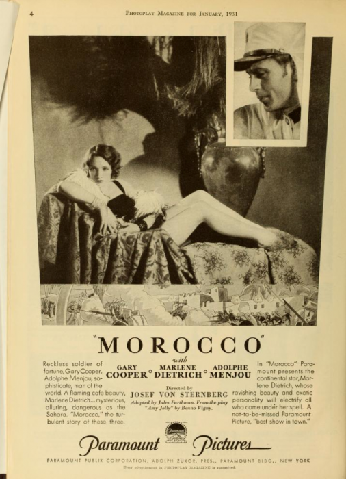 Marlene Dietrich, Morocco (Photoplay, 1931)