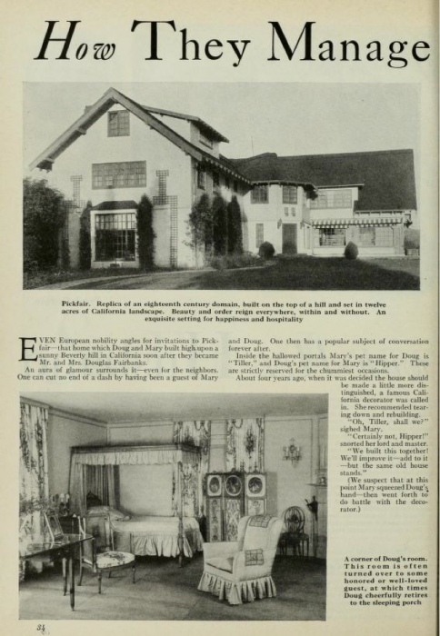 Pickfair, The Fairbanks Home, How They Manage (Photoplay)