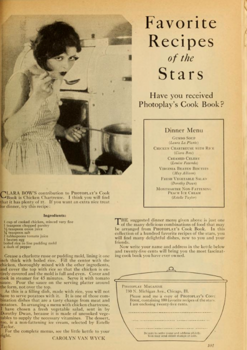 Clara Bow, Favorite Recipes of the Stars (Photoplay)