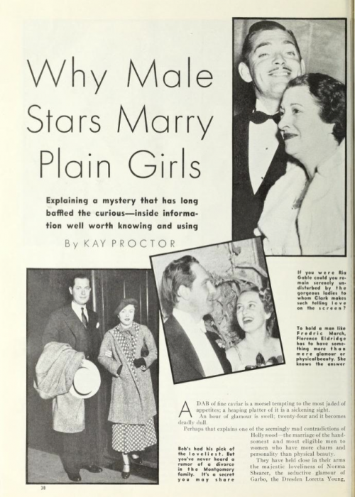 Why Male Stars Marry Plain Girls (Photoplay)