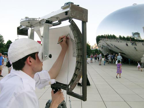 Man Draws on a Curved Easel