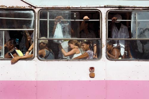 Pink, Crowded Bus
