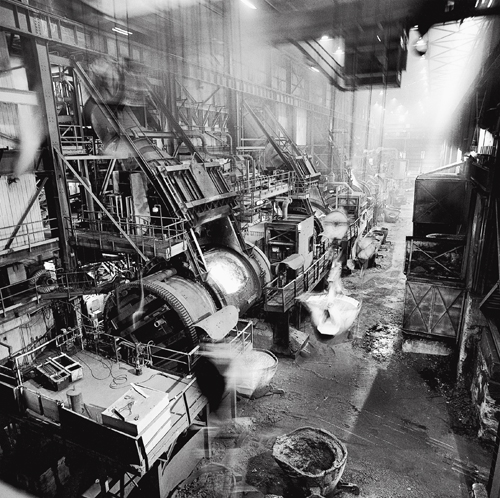 Converter aisle, Falconbridge Smelter, Falconbridge, Ontario.