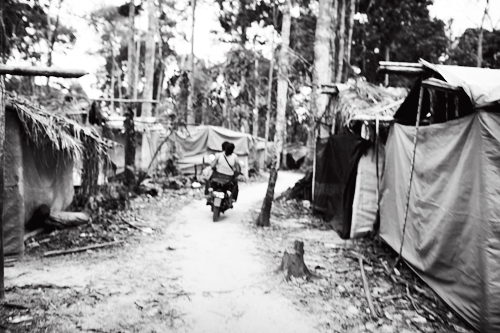 Makeshift tent settlements for miners spread through-out the jungle, connected by narrow motor paths.