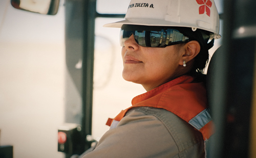 A former office secretary, Carmen Zuleta was one of the first women to work at the Gaby Mine, where she now drives heavy equipment.