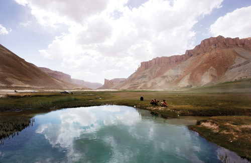 Picknickers at Band-e-Amir, two hours from the city of Bamiyan.
