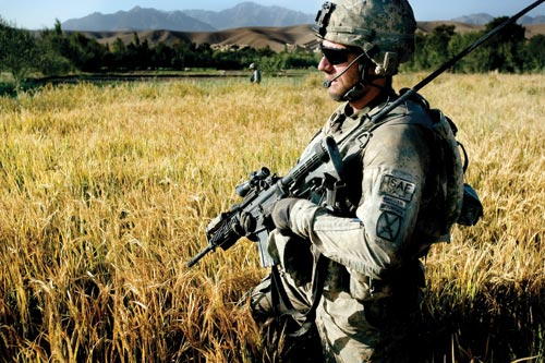 A soldier walks through tall, golden grasses. His holds a rifle at the ready. He's wearing sunglasses, gloves, and a small headset.