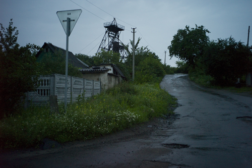 A lonely road near an abandoned uranium mine on the edge of Zholtiy Vodi.
