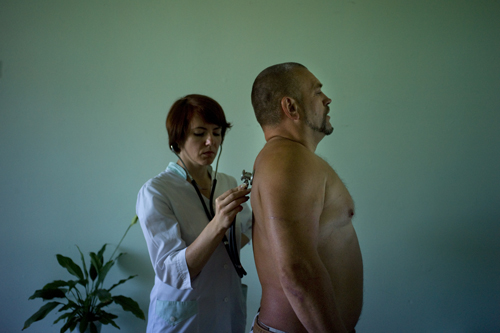 Workers at the reopened Chernobyl plant go for regular check-ups to monitor their health.