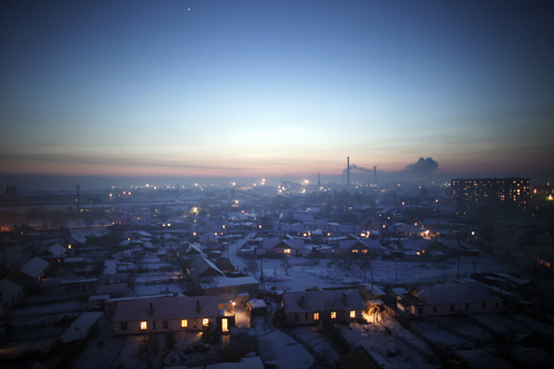 The sun sets over Semey, Kazakhstan.