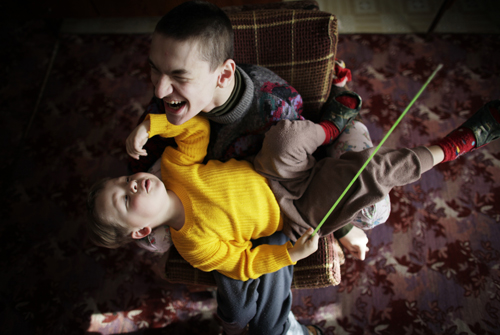 Nikita Bochkaryov, eighteen, was born with Infantile Cerebral Palsy..