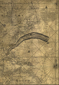 Benjamin Franklin and Timothy Folger's 1769–1770 map of the Gulf Stream.