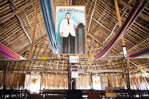 A portrait of Kuna independence hero, Nele Kantule, hangs over the Usdup village meeting hall, or congreso.