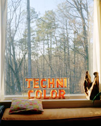 The picture window in Mrs. Daniels house.  There is a technicolor sign resting against the glass.
