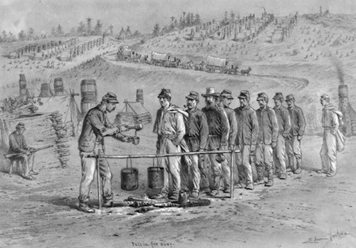 """Fall in for soup,"" a pencil drawing by Edwin Forbes, December 1862. Walt Whitman is third in line. (Charles E. Feinberg Collection, Library of Congress)"