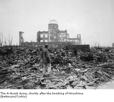 The A-Bomb dome, shortly after the bombing of Hiroshima.
