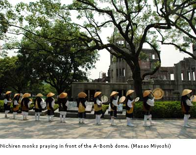 Nichiren monks praying in front of the A-Bomb dome.