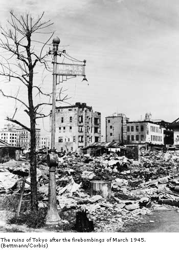 The ruins of Tokyo after the firebombings of March 1945.