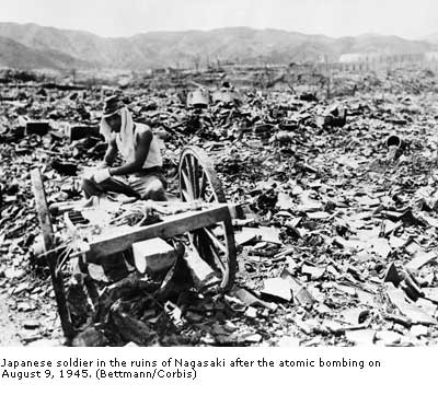 Japanese soldier in the ruins of Nagasaki after the atomic bombing on August 9, 1945.