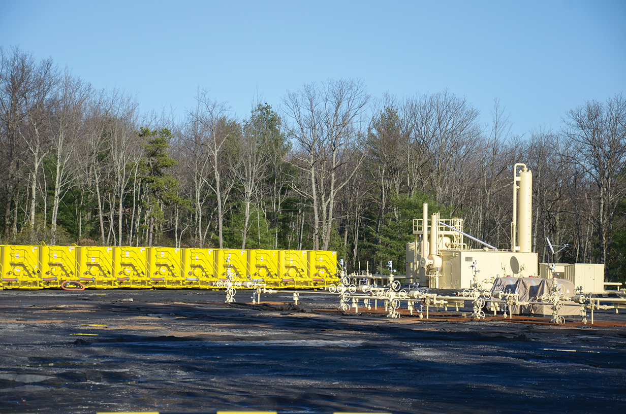 The shale gas boom in Pennsylvania has resulted in drilling in the midst of agricultural, forest, and even residential areas. Well pads, such as this one, are common.