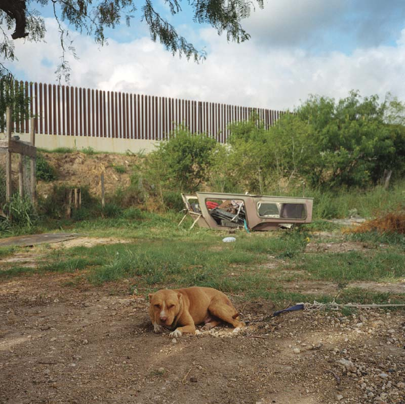 A guard dog rests while laundry dries in a backyard along the border, just south of Harlingen, Texas.