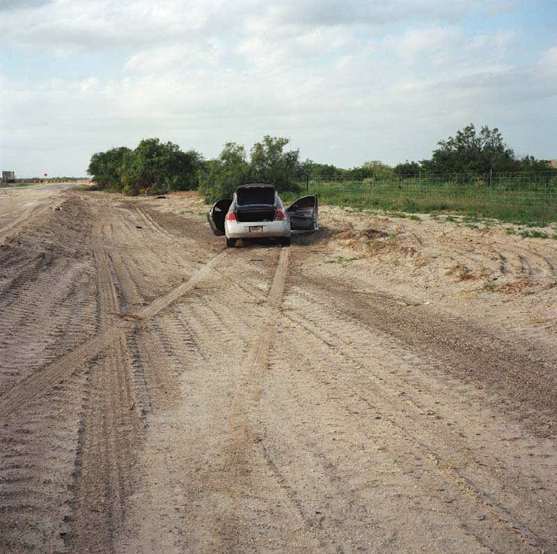 A car abandoned just minutes before, during a pursuit by Border Patrol near Falfurrias, Texas. The driver and four passengers fled into the brush.