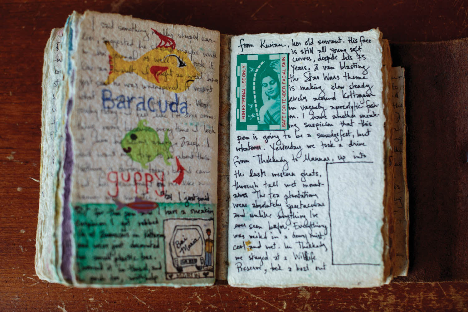 A page of Jacob's travel diary during a trip to India, 1996. Photo by Sarah Blesener.