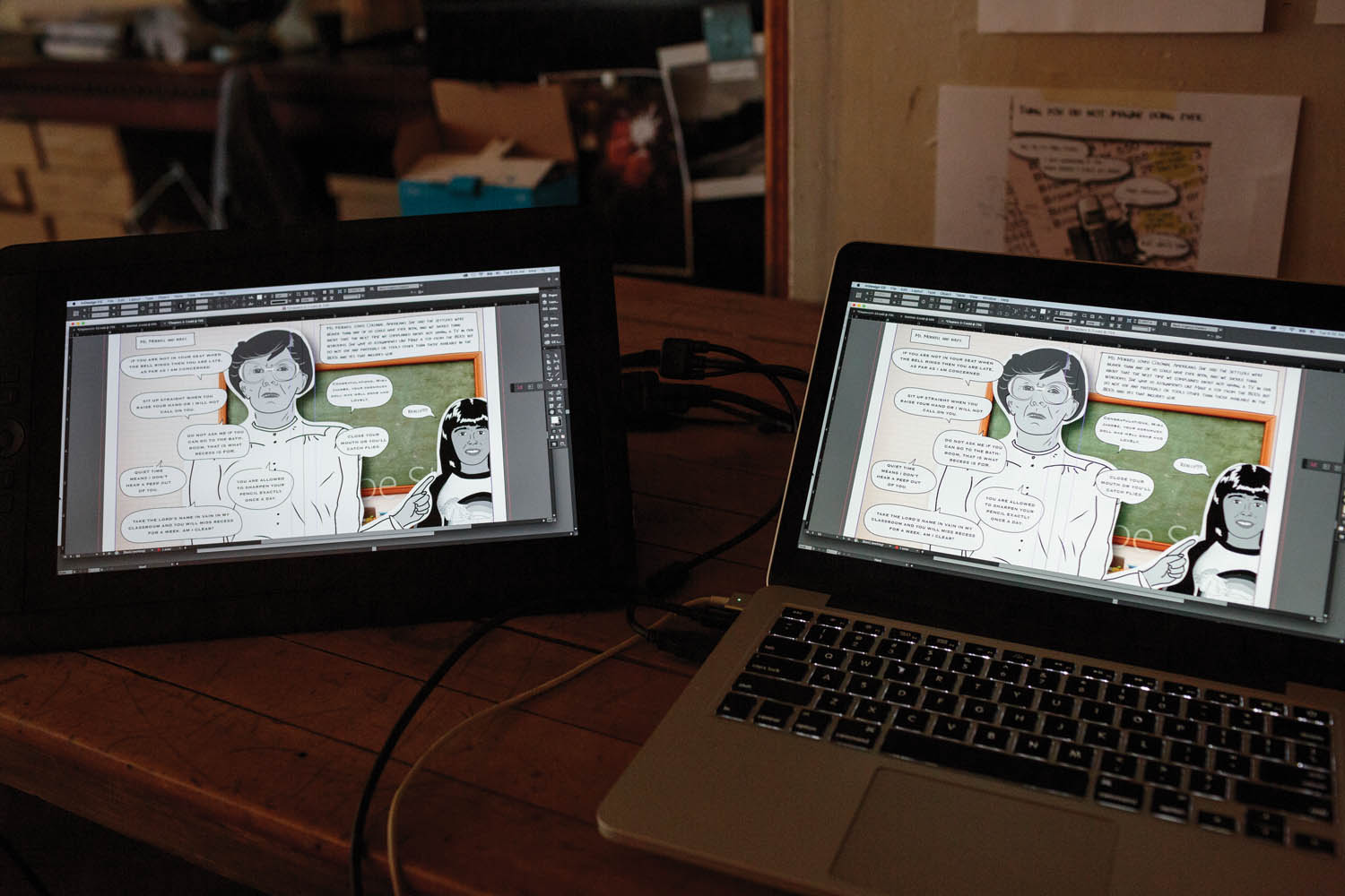 Illustrating a conversation with a Wacom tablet. Photo by Sarah Blesener.