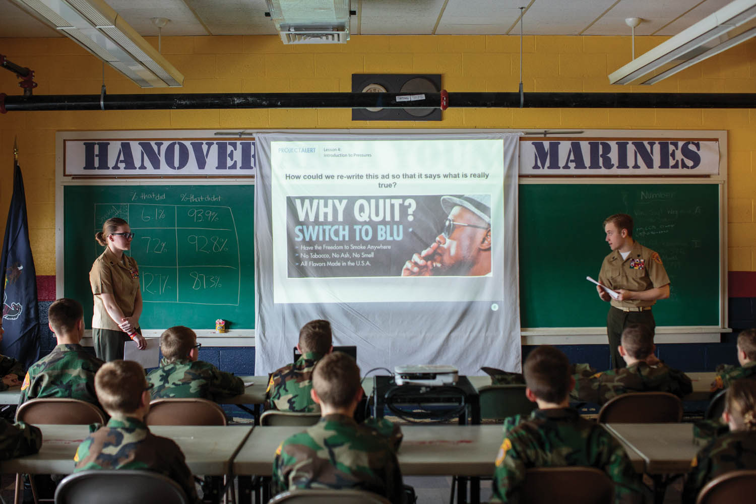 Young Marines attend a meeting that focuses on drug awareness (Hanover, PA). The Young Marines is a nonprofit organization focusing on youth development in categories such as citizenship, patriotism, and drug-free lifestyles. The group has approximately 300 clubs across the United States and internationally, with students ranging in age from eight to eighteen. Photographed by Sarah Blesener