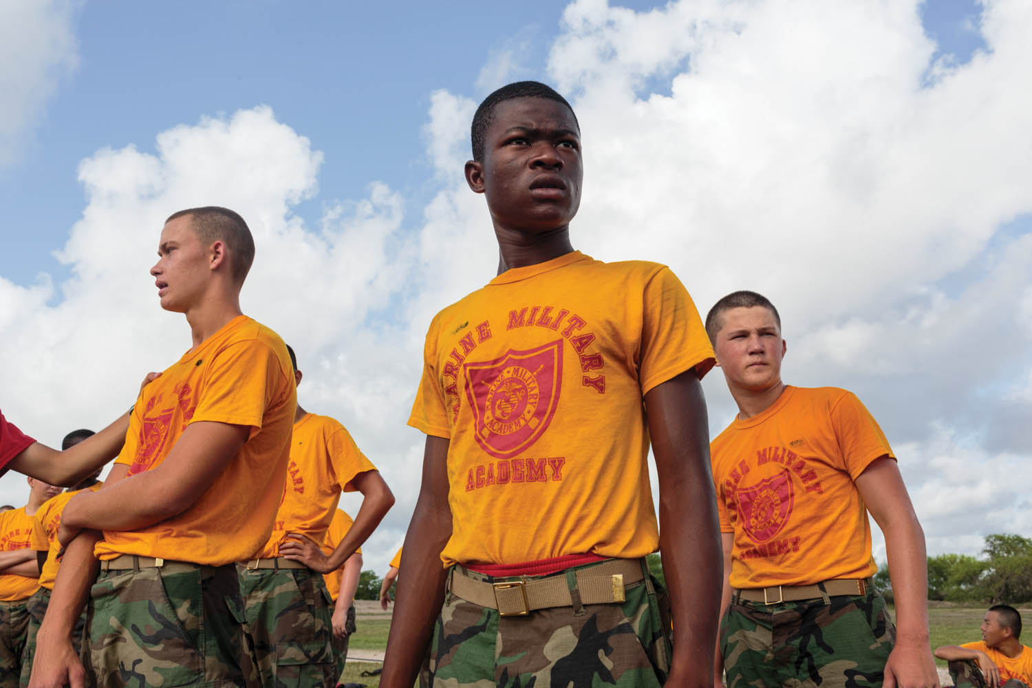 Students prepare for physical drills at Marine Military Academy, an all-boys institute in Harlingen, TX. Attendees comprise boys, ages twelve to eighteen, from around the world, with almost 400 cadets in attendance. Photographed by Sarah Blesener