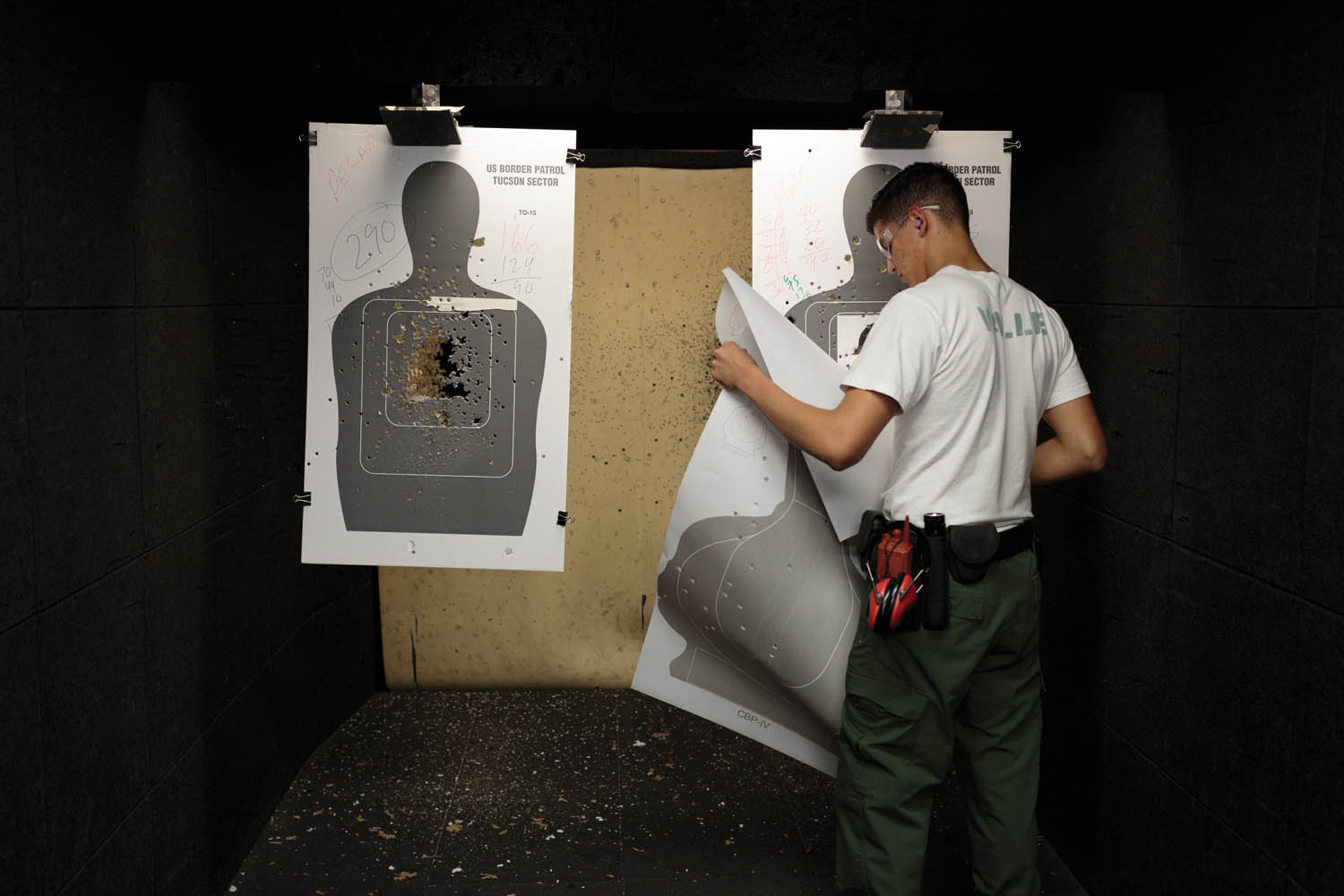 On the third day of Academy Week, students from the Border Patrol Explorer Program participate in a firearms-training class. Photographed by Sarah Blesener
