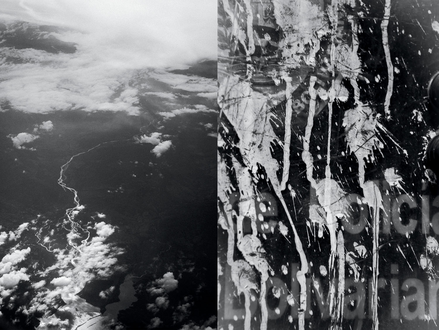 Photograph by Fabiola Ferrero. <strong>left:</strong> Venezuela from above. <strong>right:</strong> A police shield splattered with paint thrown by protesters.