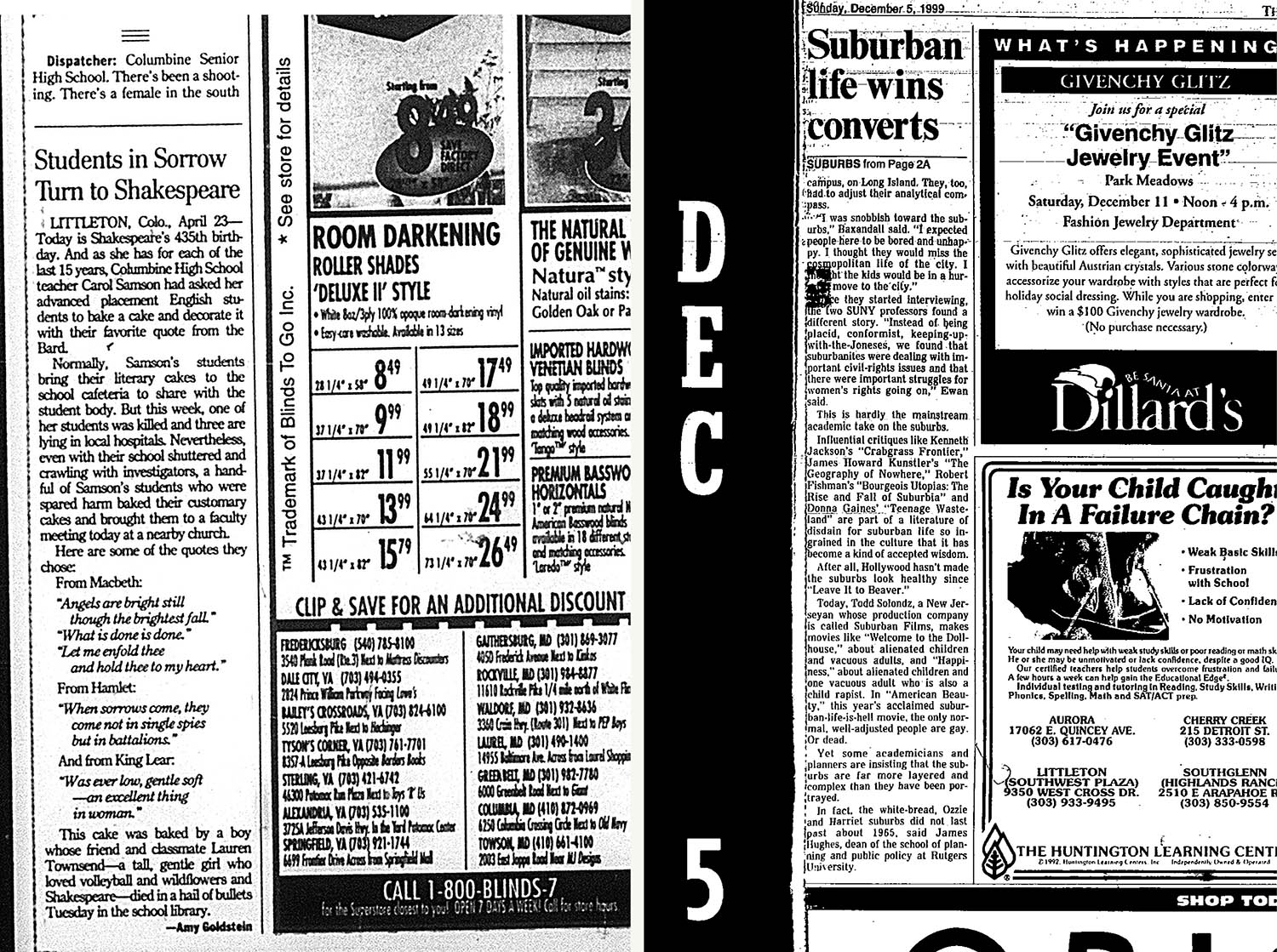 (L): The <i>Washington Post</i>, April 24, 1999. (R): The <i>Denver Post</i>, December 5, 1999. (R): <i>Nieman Reports</i>, September 15, 2005.