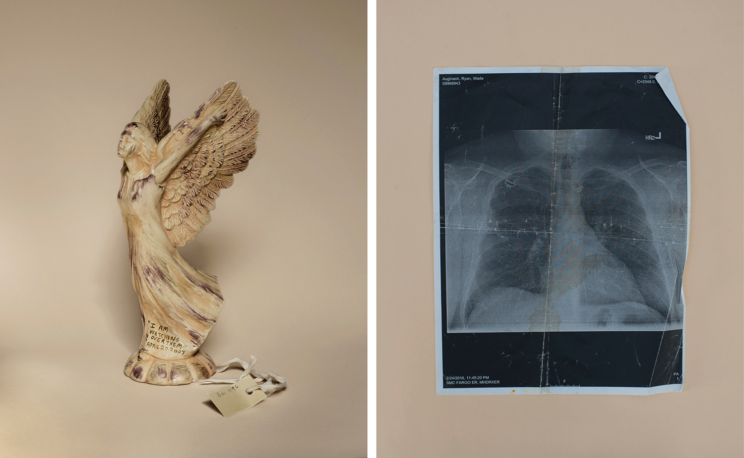 (L): Angel: Item from the April 16, 2007, Condolence Archives, Virginia Tech Special Collections Library. Blacksburg, VA. (R): Chest x-ray, Ryan Auginash.