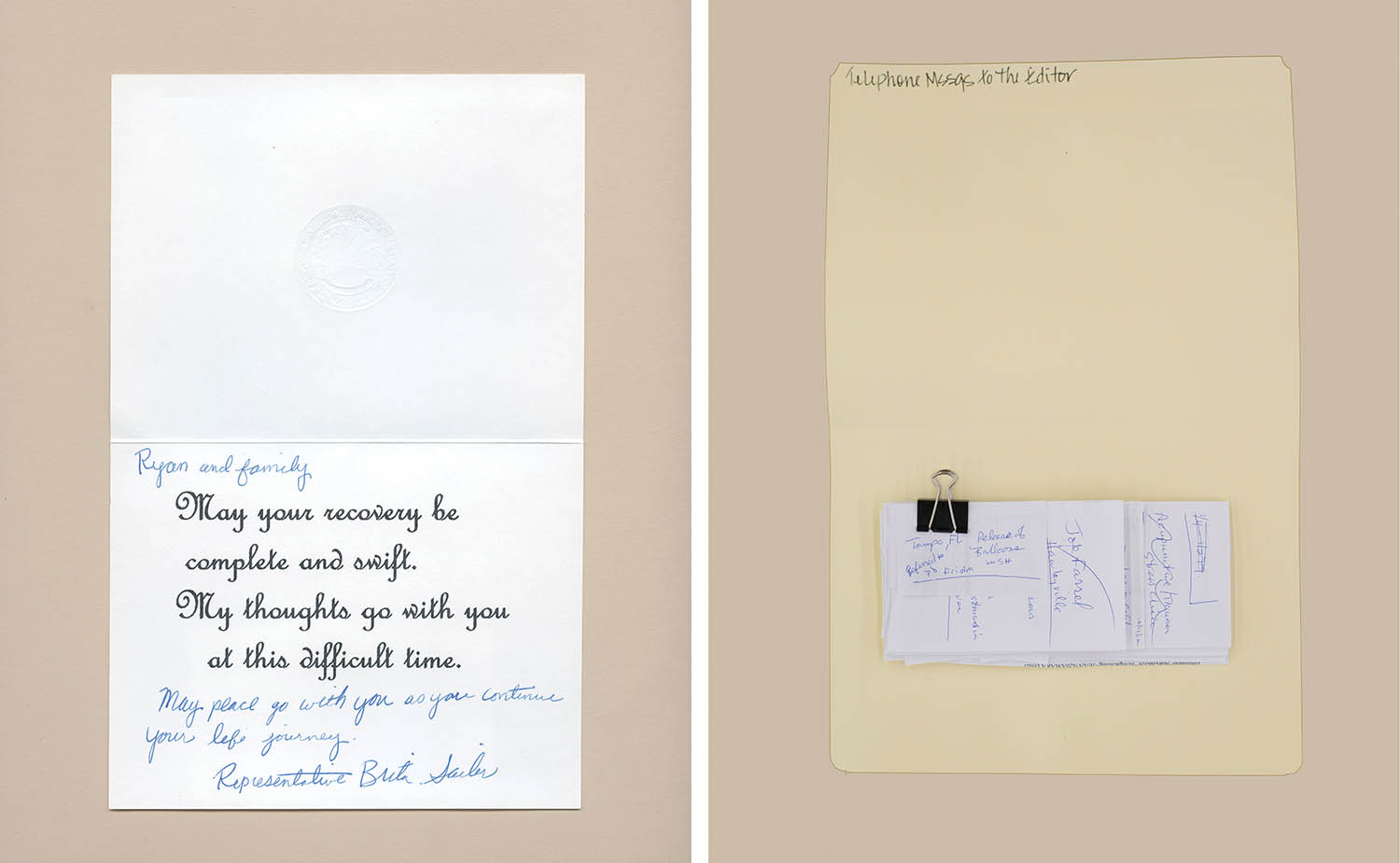 (L): Former state representative Brita Sailer's card to Red Lake survivor Ryan Auginash. (R): A collection of phone messages to the editor of the <i>Newtown Bee</i>, from the Sandy Hook Shootings Collection, State Archives at the Connecticut State Library. Hartford, CT.
