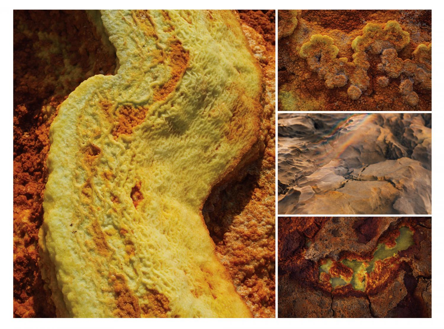 Left: Textures formed by the dried salt create patterns around the sulfur pools in Dallol, Ethiopia. RIGHT: Textures formed by dried salt create endless patterns on the ground (top) and sharp crystalline edges (middle). bottom: Pools of acidic, sulfiric water form in the cracks created between the dried salt. Photograph by Alex Pritz.