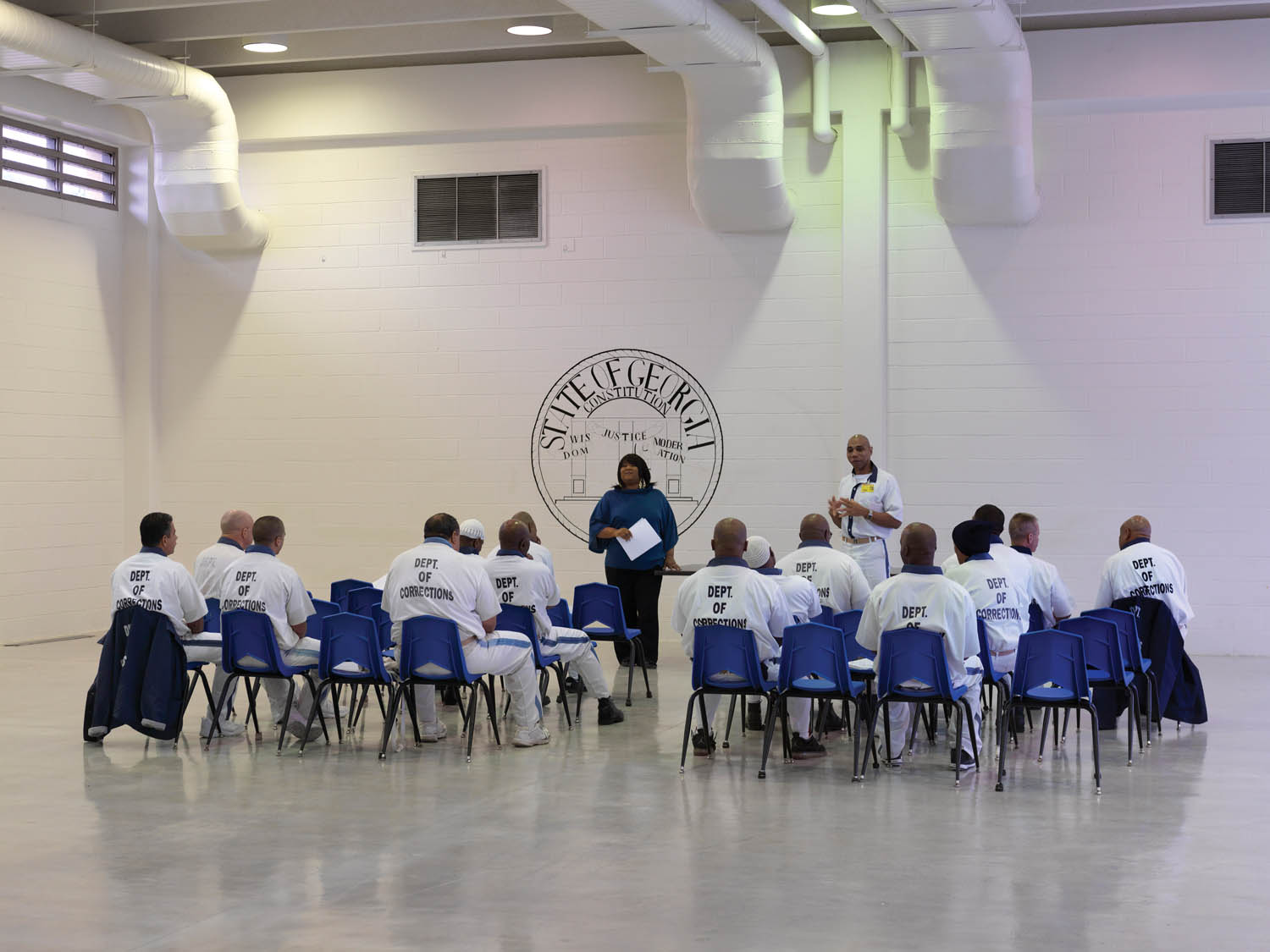 "Meeting of the committee of ""lifers""—men with a life sentence—in Georgia State Prison. Near Reidsville, GA, 2012. Photograph by Jan Banning."
