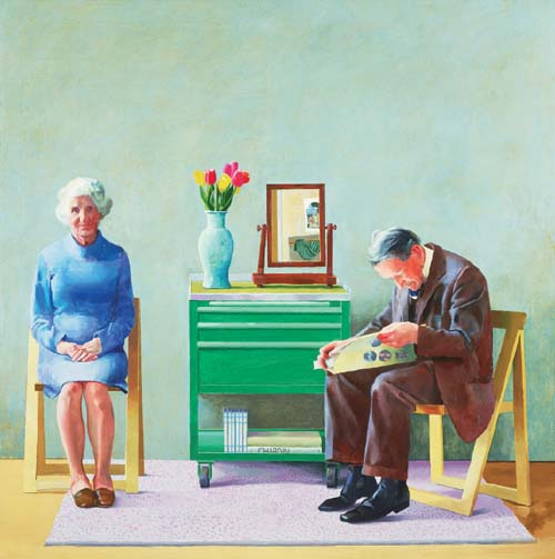 "My Parents (1977), oil on canvas, 72 x 72"". Used courtesy of Tate Gallery, London."