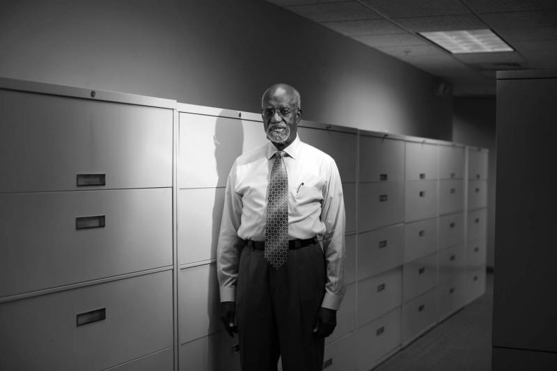 "Attorney James Ferguson in his Charlotte, NC, office. Ferguson famously defended a group of activists known as the ""Wilmington Ten"" in the 1970s."