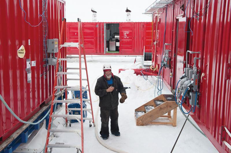 Dennis Duling, Chief Ice Driller, in the pump-operations courtyard.