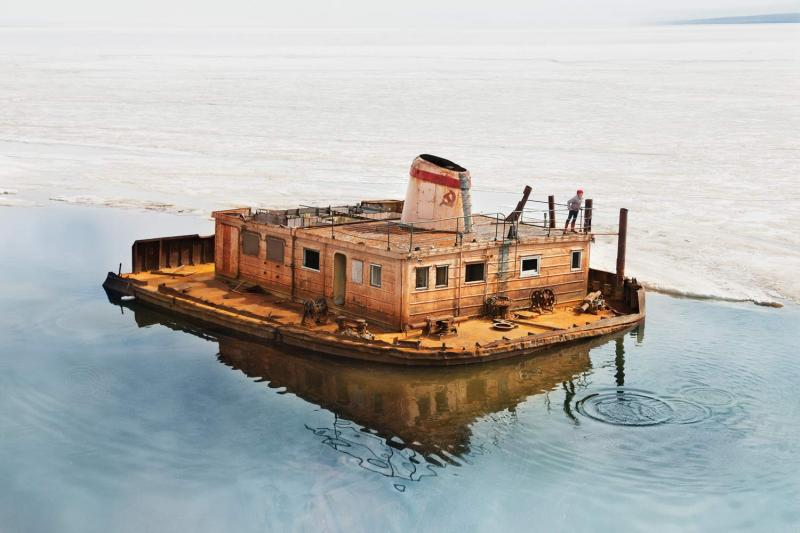 "One of several abandoned vessels in Tiksi's port, part of what's known  locally as the ""cemetery of ships."""