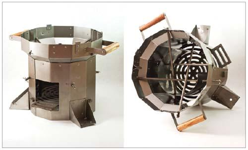 The highly efficient Berkeley-Ethiopia stove was developed at the Lawrence Berkeley National Lab, and it is now distributed by the nonprofit Potential Energy. (Photographs courtesy of Potential Energy.)