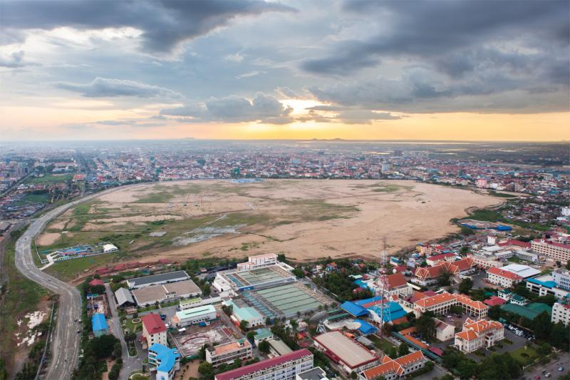 A view of what was formerly Lake Boeung Kak, in Phnom Penh. The lake was filled in for a commercial-and-residential complex. (Nicolas Axelrod/Ruom)