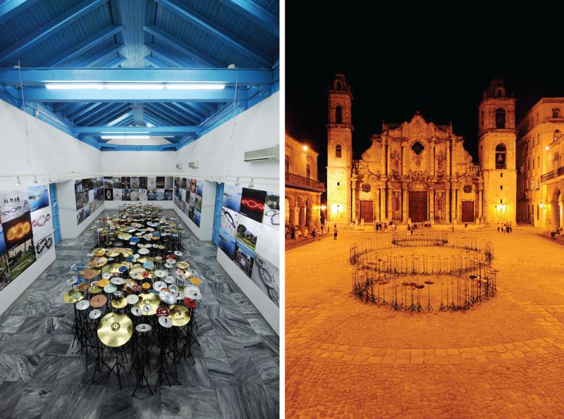 Michelangelo Pistoletto's Third Paradise at Fototeca de Cuba (left) and Havana's Plaza de la Catedral (right). (Lorenzo Fiaschi) Courtesy of the artist and Galleria Continua, San Gimignano / Beijing / Les Moulins / Havana