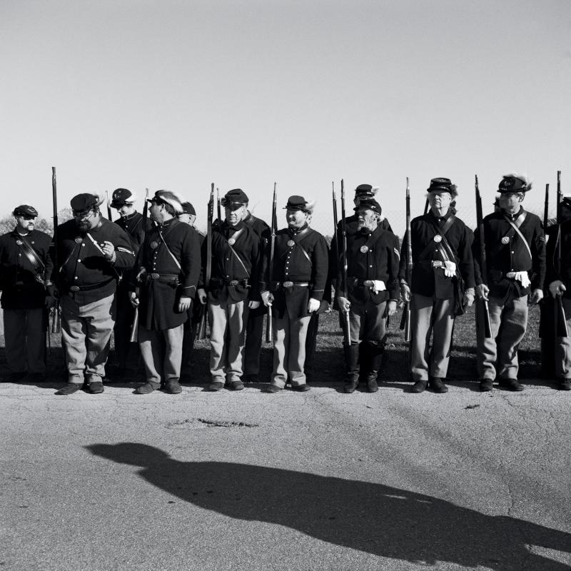 Line of Union reenactors before the Remembrance Day Parade. Gettysburg, PA, 2012.