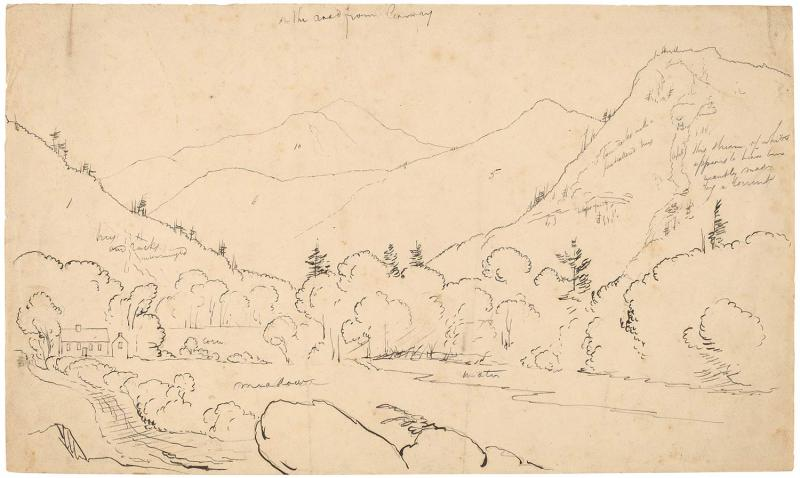 "Cole, <i>On the Road from Conway</i>, 1827/1828. Pen and black ink over graphite on wove paper, 7 -13/16"" x 13 -13/16"""". (Courtesy of the National Gallery of Art / John Davis Hatch Collection)"