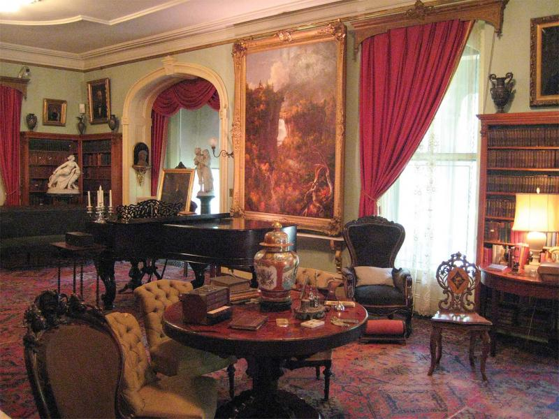 Seward House drawing room with Cole's <i>Portage Falls on the Genesee</i>. (Courtesy of the Seward House Museum)